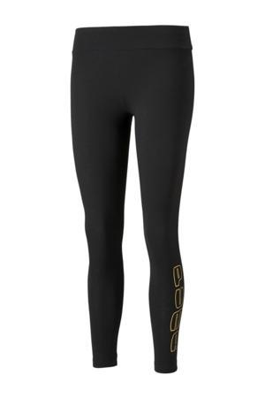 high waist slim fit legging met logo zwart/goud