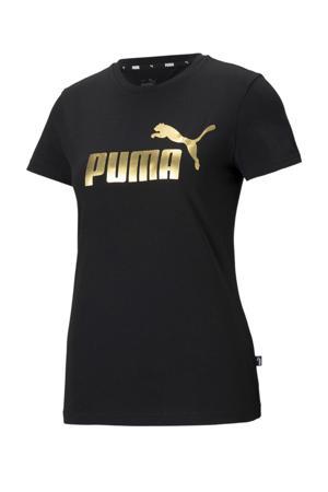 T-shirt met logo zwart/goud
