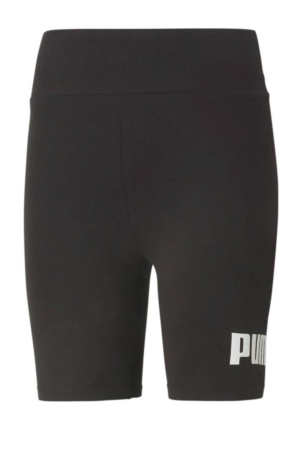 Puma high waist slim fit broek met logo zwart, Zwart