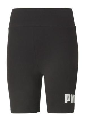 high waist slim fit broek met logo zwart