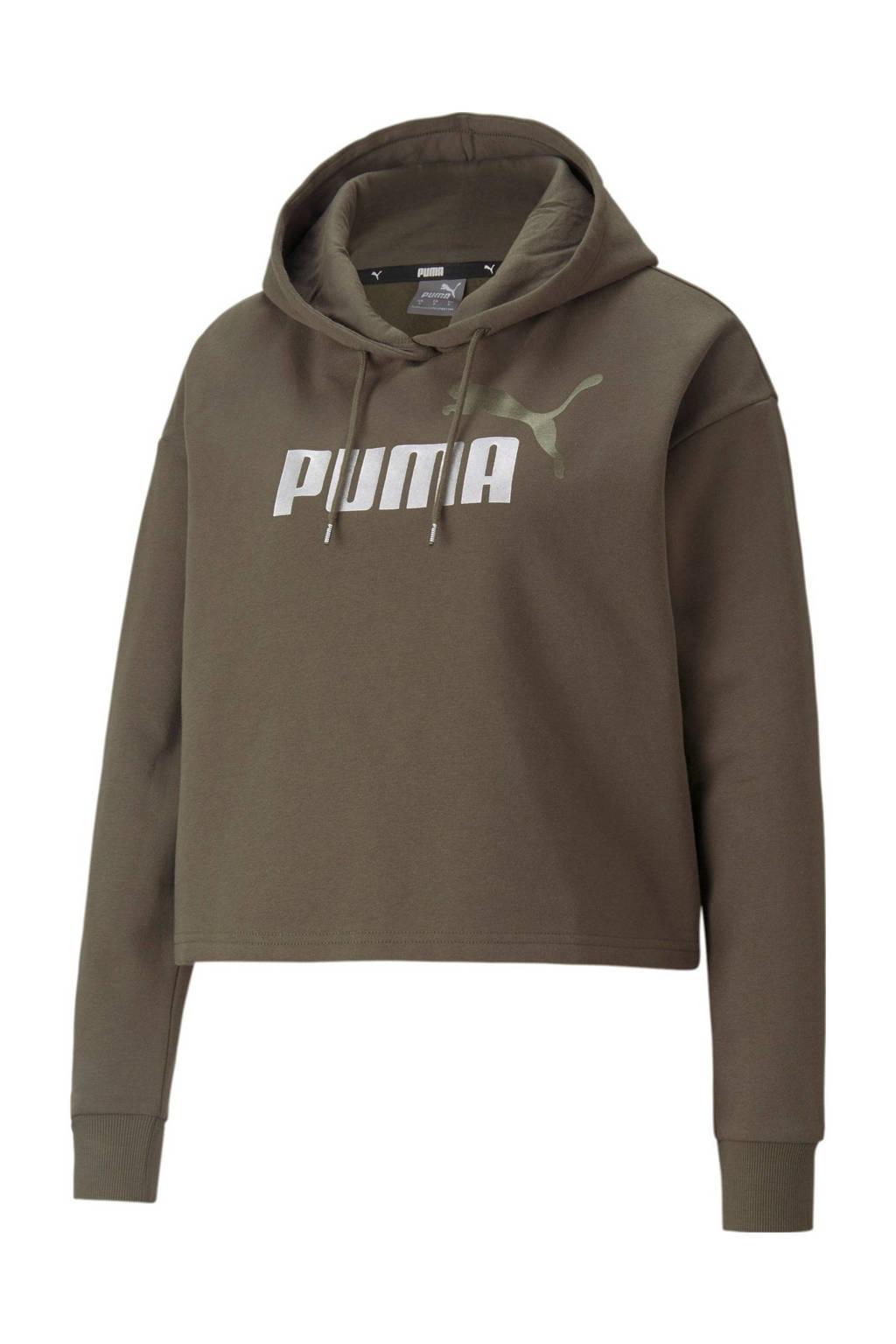Puma hoodie met logo groen/zilver, Groen/zilver