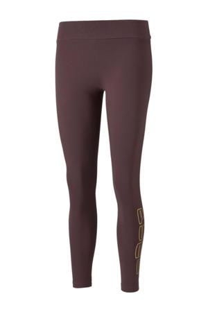 high waist slim fit legging met logo aubergine
