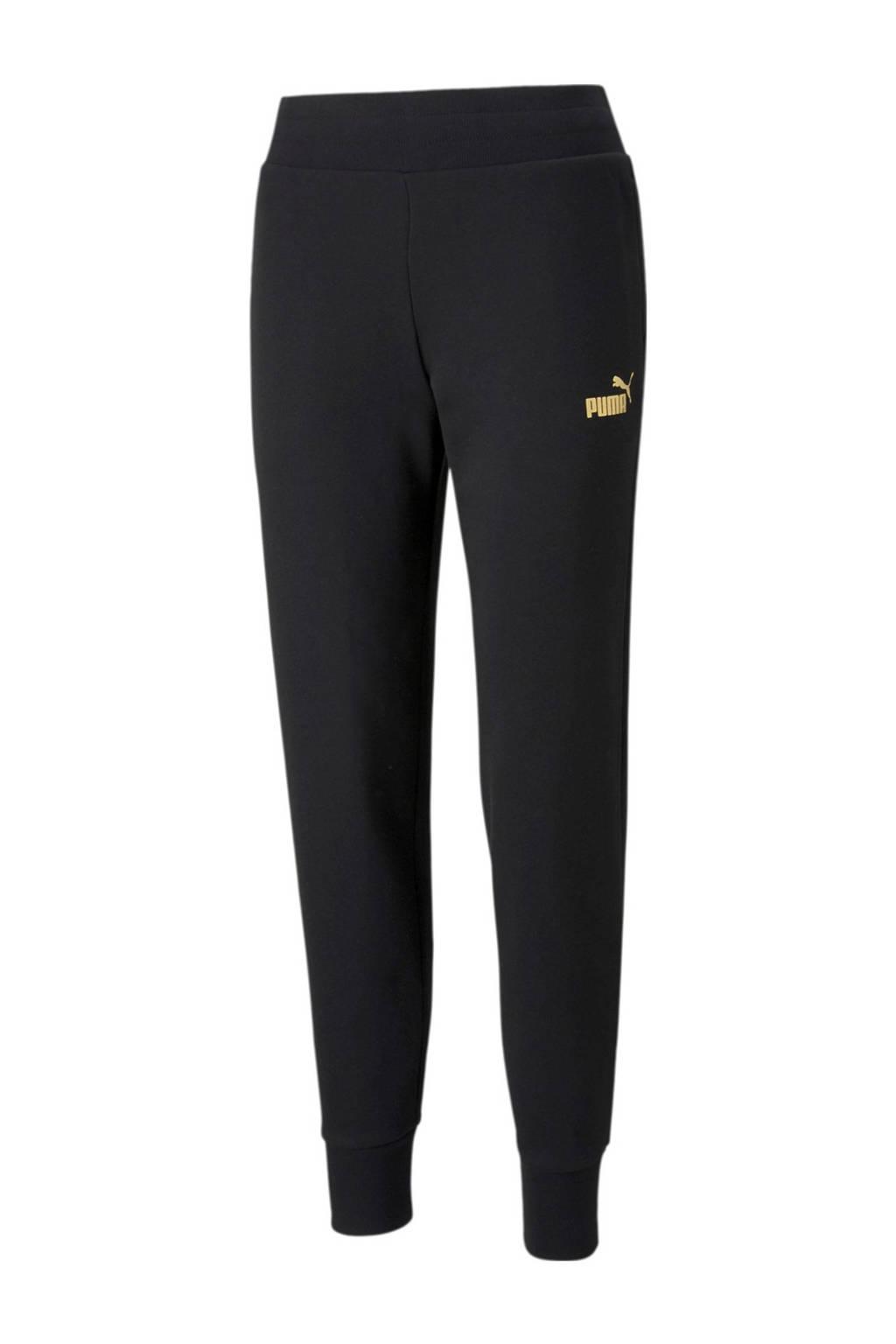Puma regular fit broek met logo zwart/goud, Zwart/goud