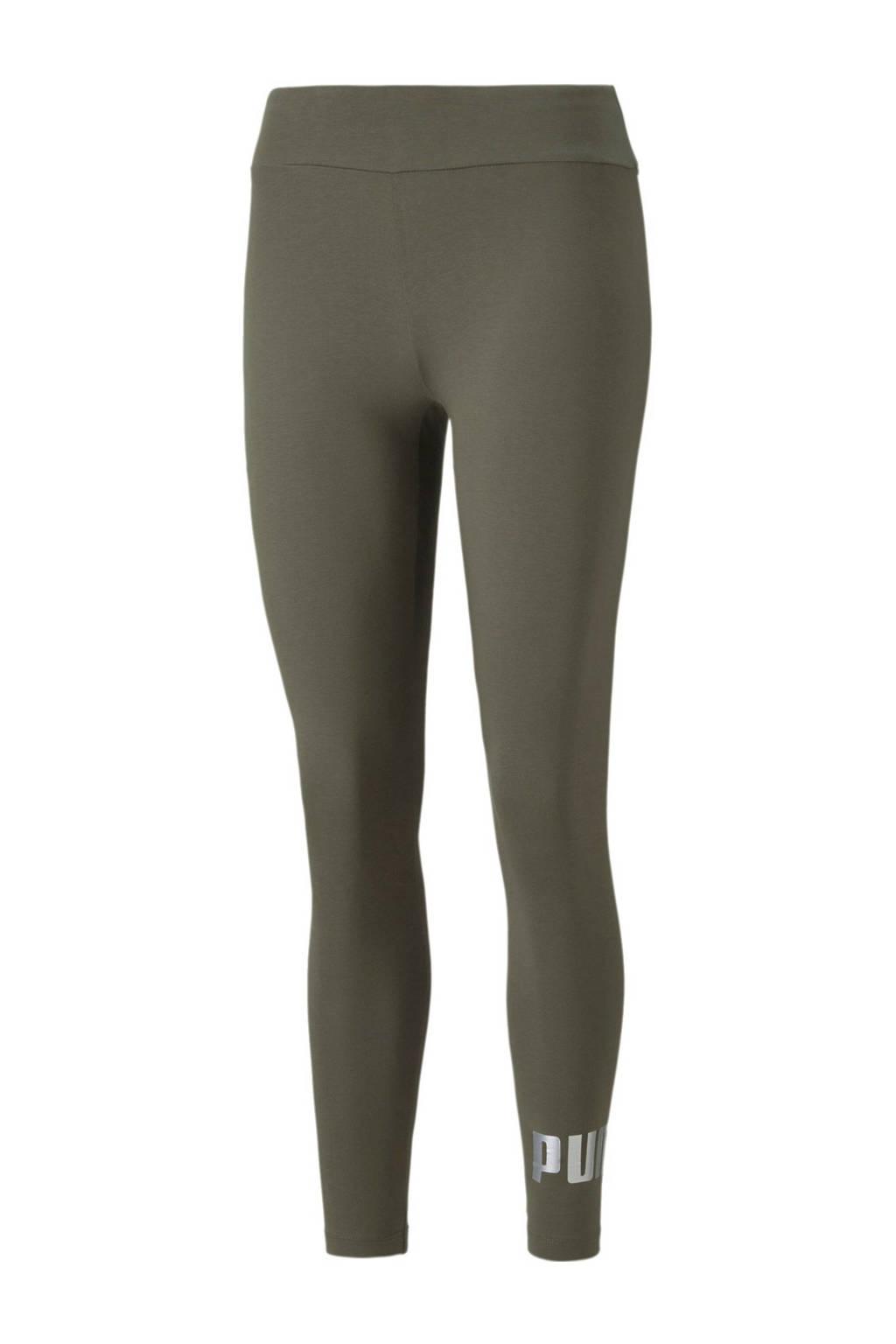 Puma high waist legging met logo groen/zilver, Groen/zilver