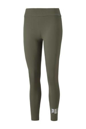 high waist legging met logo groen/zilver