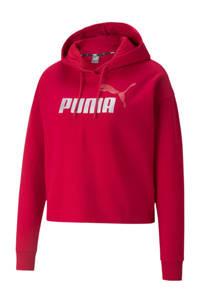 Puma cropped hoodie met logo rood/zilver, Rood/zilver