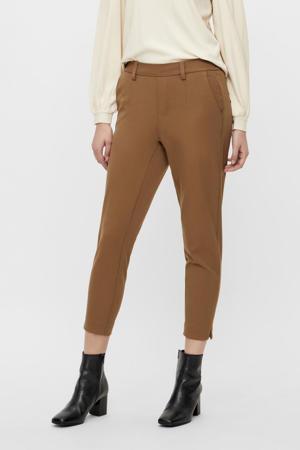 slim fit pantalon OBJLISA van gerecycled polyester lichtbruin