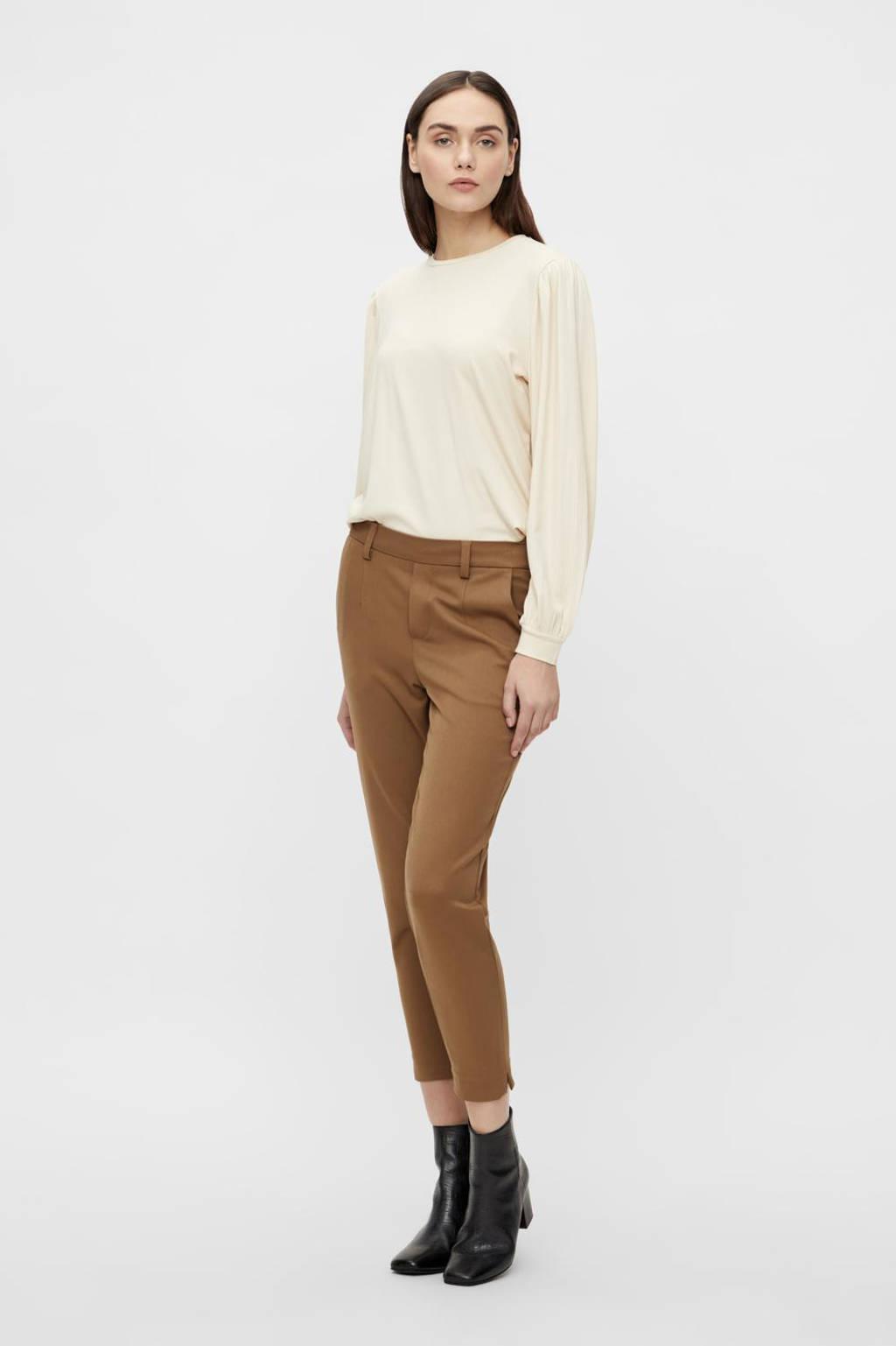 OBJECT slim fit pantalon OBJLISA van gerecycled polyester lichtbruin, Lichtbruin