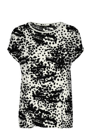 T-shirt Ava met all over print zwart/wit