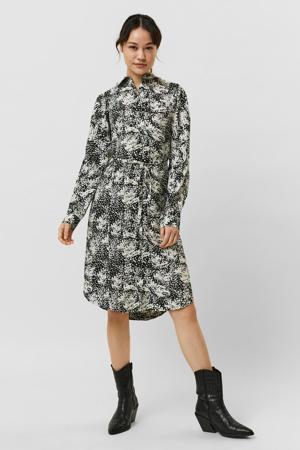 blousejurk VMPETRINANORA met all over print en ceintuur ecru/zwart