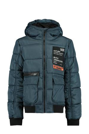 gewatteerde winterjas Jake met printopdruk donkerblauw