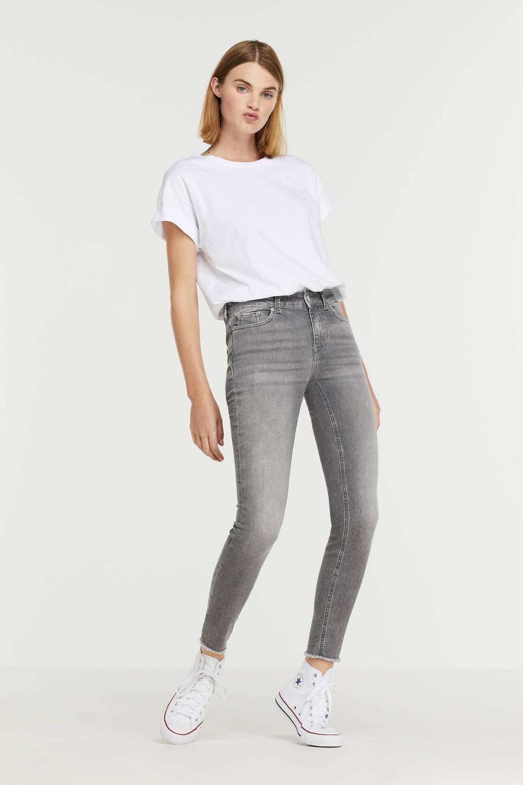 VERO MODA skinny jeans VMPEACH  grijs, Grijs