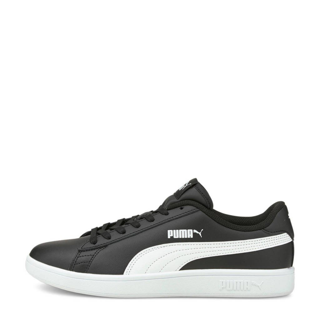 Puma Smash v2  leren sneakers zwart/wit, Zwart/wit