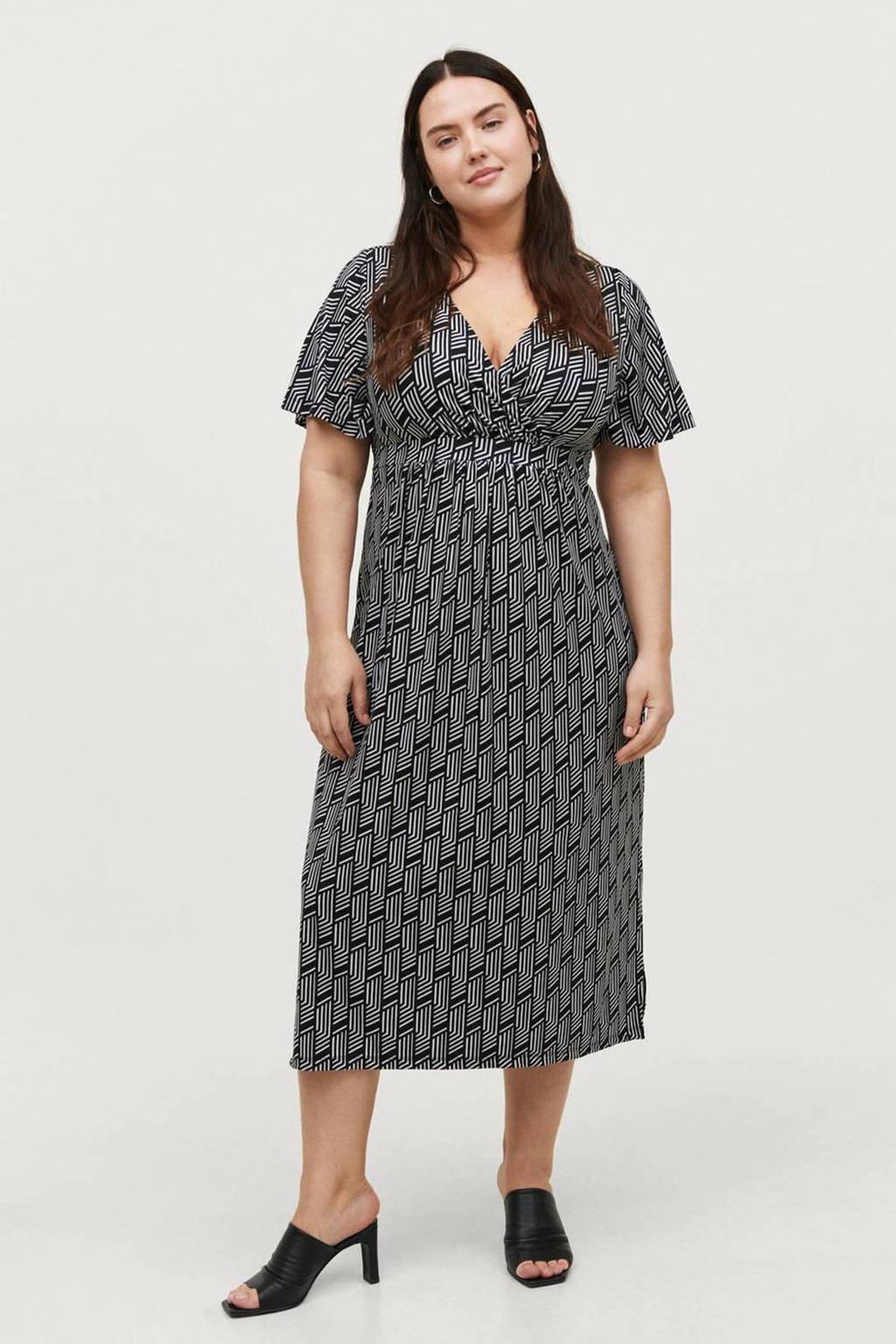 Ellos jurk BEATA met all over print zwart/wit, Zwart/wit