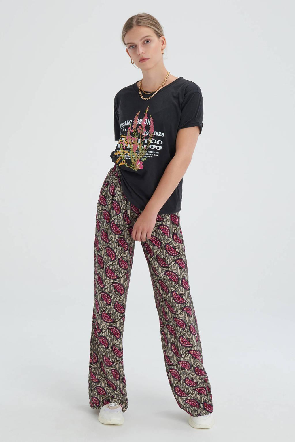 Shoeby Eksept T-shirt Flower Washed met printopdruk antraciet, Antraciet