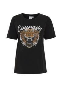 ICHI T-shirt IHTINE met printopdruk zwart, Zwart