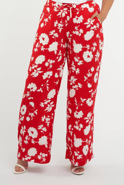 MS Mode gebloemde loose fit palazzo broek rood/wit, Rood/wit