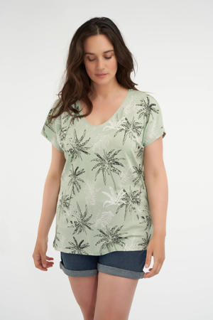 T-shirt met all over print mintgroen/zwart/wit