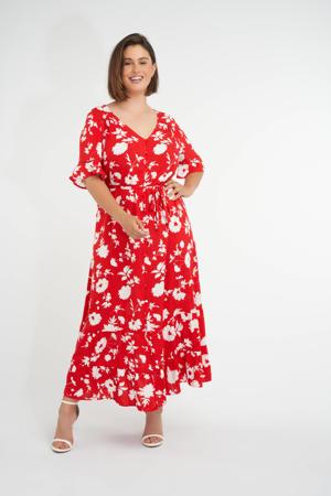gebloemde maxi A-lijn jurk rood/wit