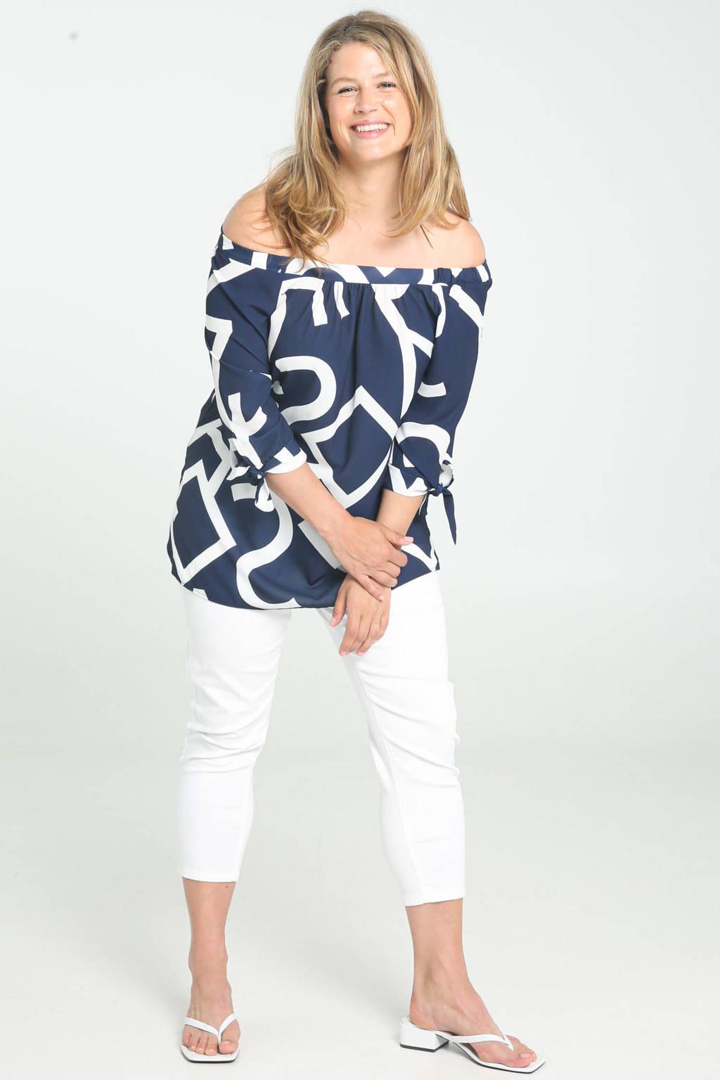 Paprika off shoulder top met all over print en plooien donkerblauw/wit, Donkerblauw/wit