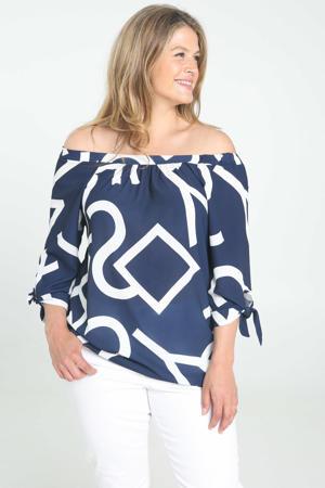 off shoulder top met all over print en plooien donkerblauw/wit