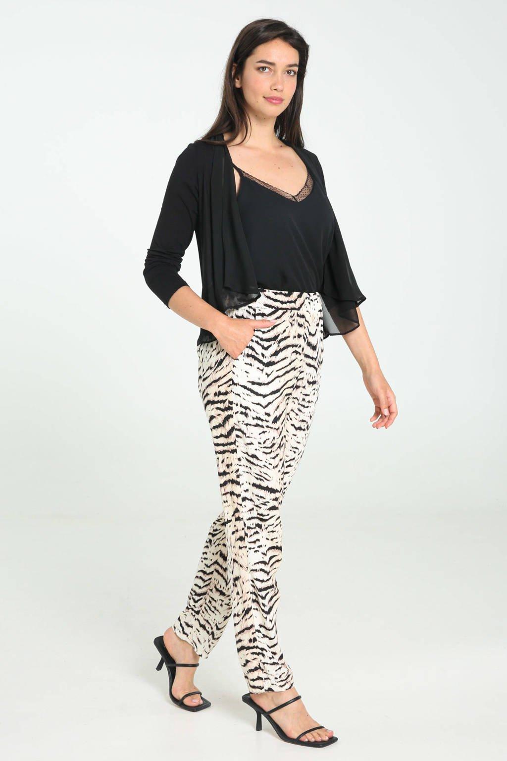 Cassis regular fit broek met zebraprint ecru/zwart, Ecru/zwart