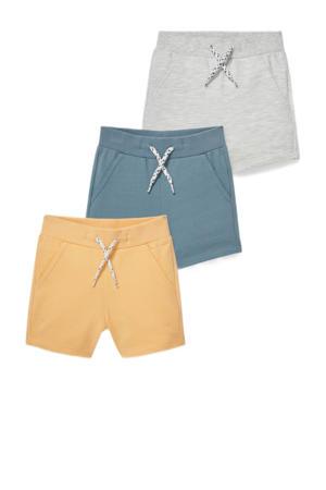 sweatshort - set van 3 geel/blauw/grijs