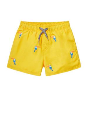 zwemshort met toekan print geel