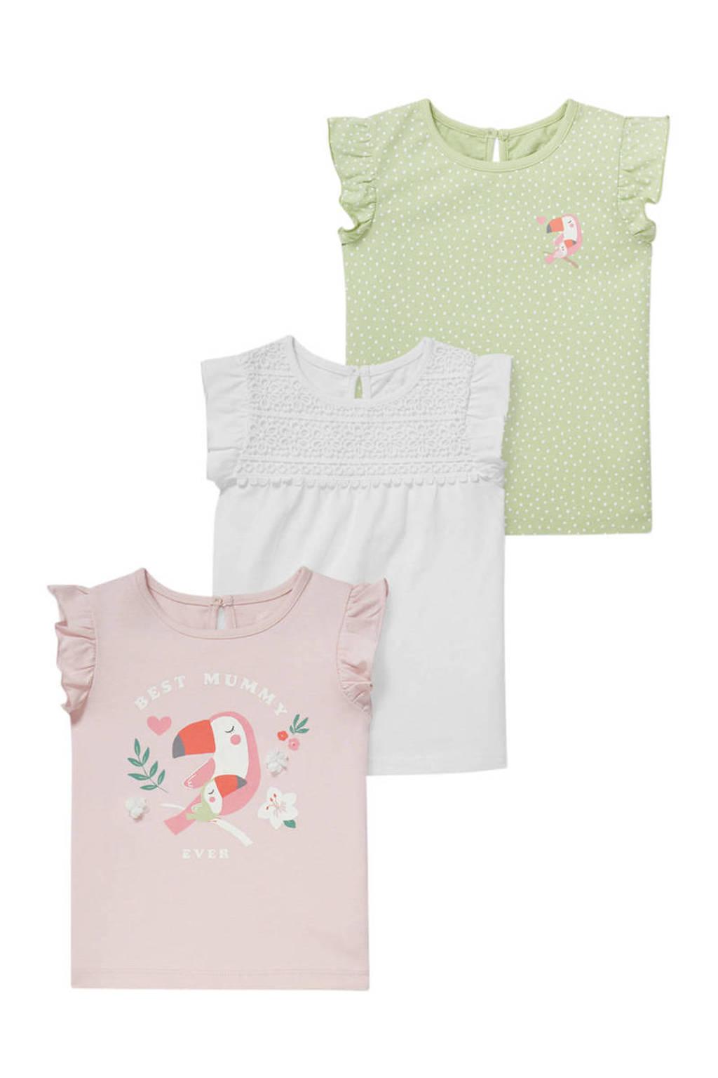 C&A Baby Club T-shirt - set van 3 lichtroze/wit/lichtgroen, Lichtroze/wit/lichtgroen