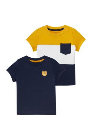 T-shirt - set van 2 blauw/wit/geel