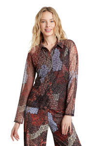 Desigual semi-transparante blouse met all over print roodbruin/blauw, Roodbruin/blauw