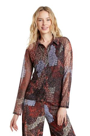 semi-transparante blouse met all over print roodbruin/blauw