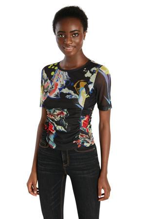 T-shirt met all over print en plooien zwart/geel/rood/blauw