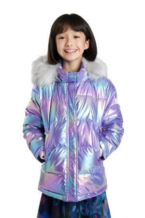 gewatteerde winterjas paars/roze metallic