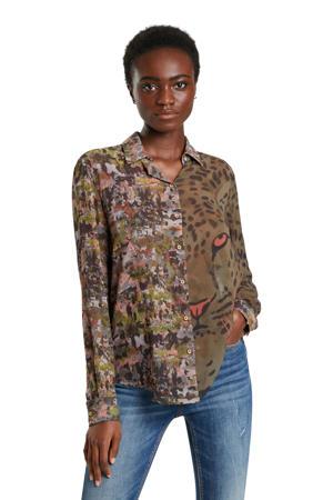 blouse met dierenprint donkergroen/grijs/roze