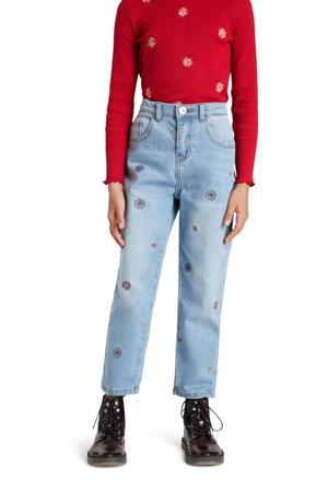 high waist mom jeans met all over print en borduursels light denim
