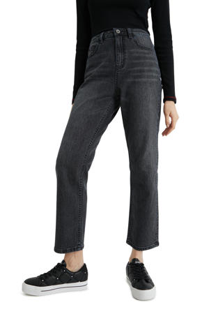 cropped high waist straight fit jeans black denim