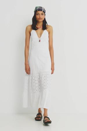 A-lijn broderie jurk in wit