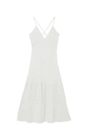 A-lijn jurk met kant wit