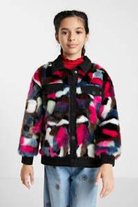 Desigual imitatiebont winterjas met all over print paars/roze/zwart, Paars/roze/zwart