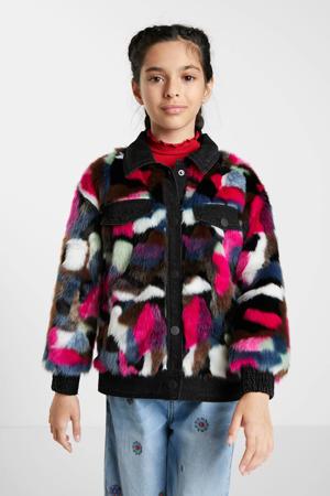 imitatiebont winterjas met all over print paars/roze/zwart