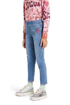 slim fit jeans met printopdruk lichtblauw