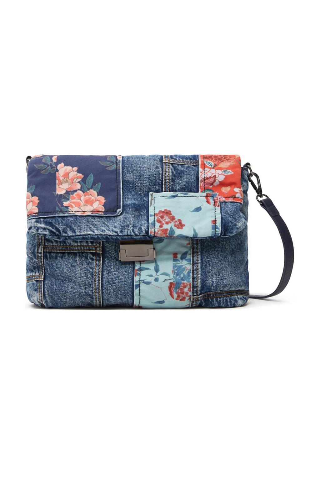 Desigual  schoudertas met patches denimblauw, Denimblauw