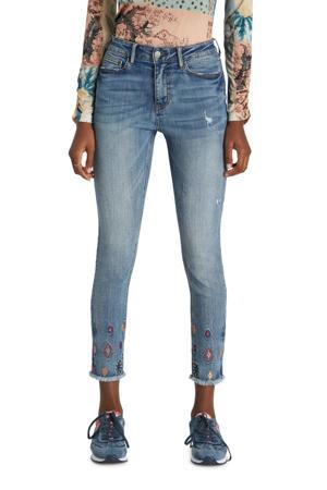 slim fit jeans met borduursels blauw
