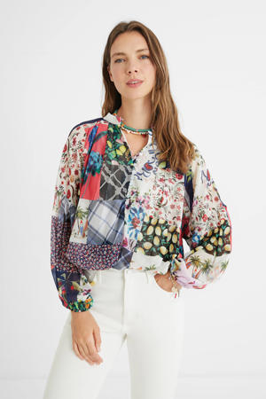 blouse met patchwork print multicolor