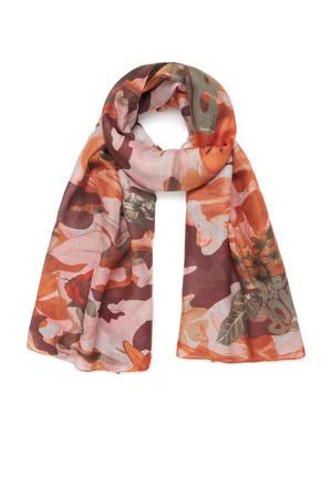 sjaal met bloemenprint roze/multi