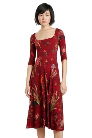 jersey jurk met all over print en plooien donkerrood/rood/groen