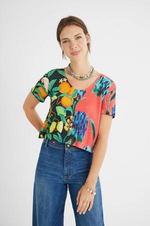 T-shirt met all over print roze/zwart/groen