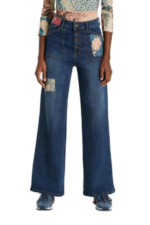 wide leg jeans met patches dark denim