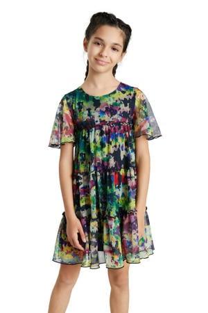 semi-transparante A-lijn jurk met all over print en ruches groen/multicolor
